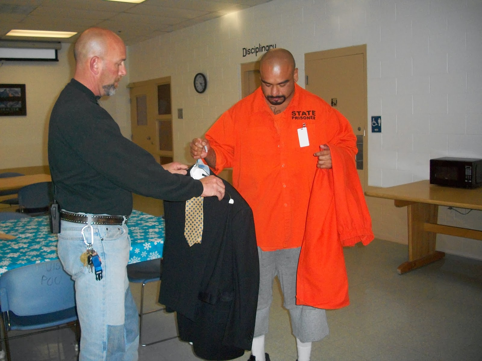 inmate receiving business clothing